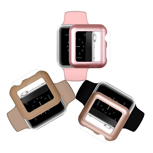iCASEIT Apple Watch Snap-On Case & Glass 38mm (Pack of 3) Premium Slim & Light Impact & Scratch Protection (Include 3 Screen Protectors) iWatch Cases 38 mm - Gold, Rose Gold & Walnut