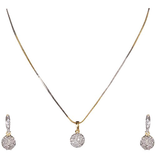 DS Gold Plated American Diamond Pendant Set with Chain And Earrings for women(DS216)
