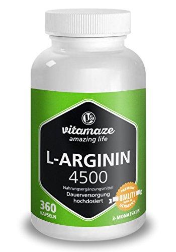 L-ARGININE EN DOSE ÉLEVÉE, 360 capsules pour 3 mois, produit de qualité allemand, approprié pour les personnes allergiques, maintenant au prix promotionnel et 30 jours de reprise gratuite!