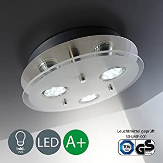 B.K.Licht Round ceiling light   LED ceiling light   Eco-friendly lighting   LED glass lamp  3 x 3 W 250 Lumen   Kitchen LED light   Classic finish   Modern look   Warm-white colour   GU10 fitting