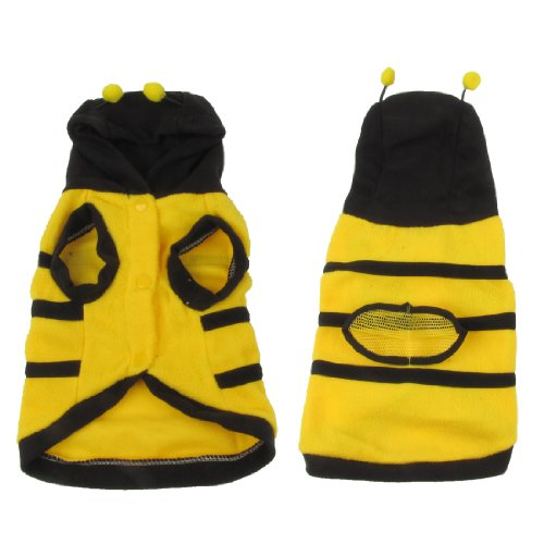 Warm Plush Bee Shaped Hoodie Pet Dog Cat Sweater Coat Outerwear Size L