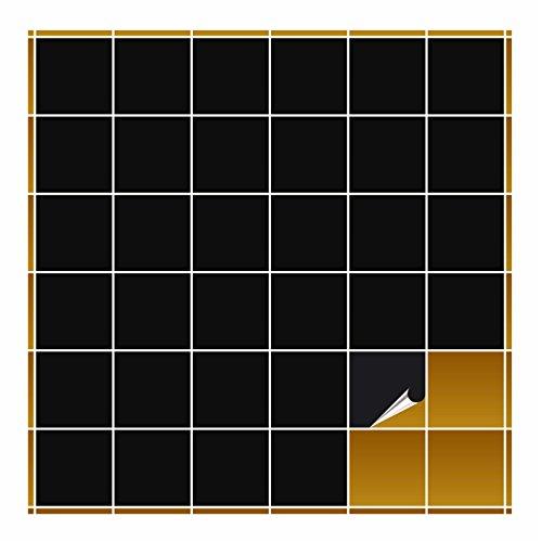 FoLIESEN Fliesenaufkleber für Bad und Küche - 10x10 cm - schwarz matt - 20 Fliesensticker für Wandfliesen