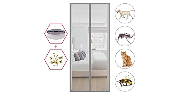 MEIDEL Mosquito Door Curtain 80x200cm Keep Insects Out Magnetic Fly Screen Door Without Drilling Room Childrens Room White 31x79inch