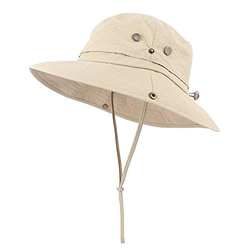 Anyoo Outdoor Boonie Mütze Atmungsaktiv Breite Krempe Sommer Sonne Kappe UV Schutz Angeln Camouflage Mütze für Männer und Frauen, Wasserdicht für Wandern Camping Freizeit Abenteuer (pure/khaki)