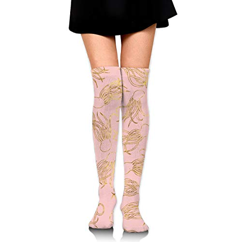Gold Squids Pink Women's Over Knee Thigh Socks Girl High Stockings 65 Cm/25.6In -
