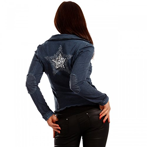 Vintage Blazer Baumwolle STERN Sweatblazer Kurzjacke Cold Washed Blau