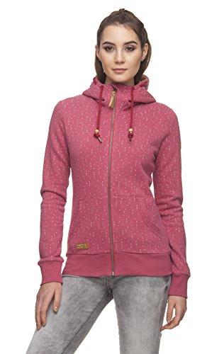 Ragwear Chelsea Hearts Zip Damen Frauen Kapuzenjacke, Sweatjacke, Hoodie, bequem, stylisch, Allover-Print,Regular Fit,Baumwolle,Dusty Rose(4057), XS Chelsea Zip