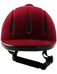 Vino rojo y negro tapa ecuestre casco para montar a caballo de alta calidad (wine red, L)