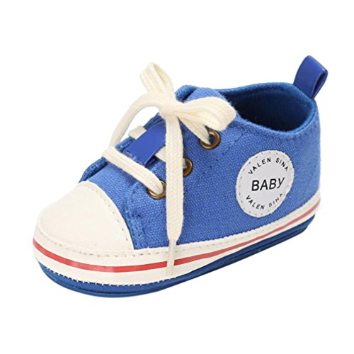 Igemy 1 Paar Kleinkind Mädchen Jungen Krippe Neugeborene Soft Sole Anti-Rutsch Baby Segeltuch Schuhe Turnschuhe Blau