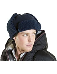 Unisex Adult Quality Fleece Trapper Style Winter Hat - Warm Thermal Lining Navy