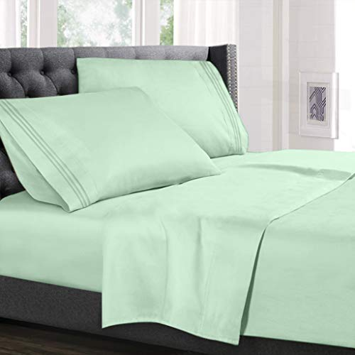 Hearth & Harbor Deep Pocket Fitted Sheet up to 18 inches Bedding Set - Luxury Soft Quality Double Brushed Microfiber, RV Short Queen, Mint Green