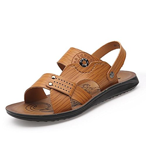 Men's PU Leather Casual Sandals yellow