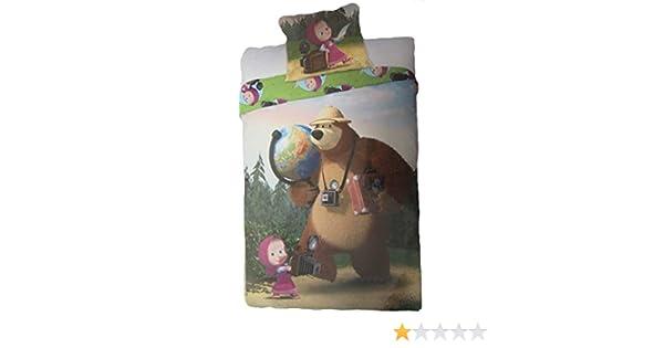 FARO Masha et Michka Parure de lit avec Housse de Couette et taie doreiller en Coton 160 x 200 cm et taie doreiller 70 x 80 cm