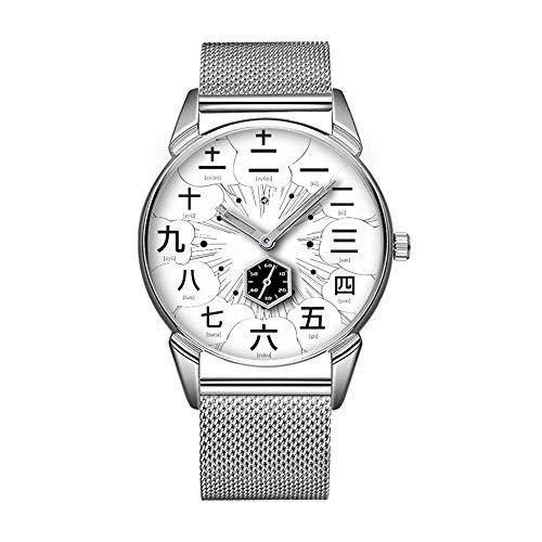 Mode wasserdicht Uhr minimalistischen Persönlichkeit Muster Uhr -484. Japan Kanji Manga Style [weißes Gesicht]