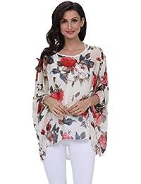 Camisa Mujer Moda Vintage Floreadas Tops Shirt Elegantes Mangas De Murciélago Anchos Sencillos Asimetricos Cuello Redondo