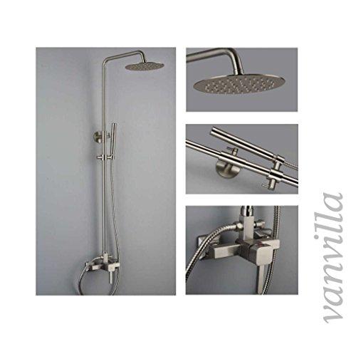 vanvilla Design Dusch-Set Duscharmatur Duschkopf Handbrause 6637 mit Einhebelmischer und 20cm rund Edelstahlduschkopf gebürstet