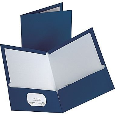 Staples; 2-Pocket Laminated Folders, Dark Blue, 10/Pack by