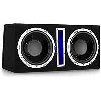 auna Basswaver X12L • Subwoofer doble para coche • Potencia 1200W • 2 altavoces de 30cm para graves • Bobinas de 3,8cm • Entrada de MP3 • Control de volumen • Recubrimiento de fieltro • Activo • Negro