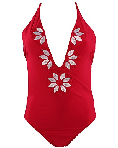 Damen Push Up Blumendruck Beach Triangel Bikini Beachwear Bademode Rot 2