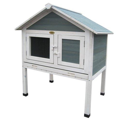 Kaninchenstall Rabbit, Habau, einstöckig, Kleintierbehausung, blau-weiß