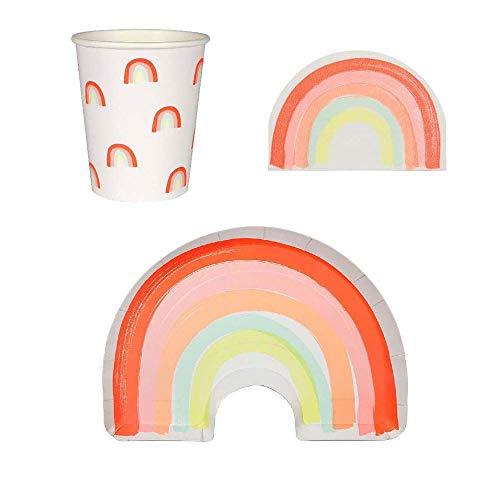Luck and Luck Meri Meri Rainbow Partyset Teller, Servietten, Becher, 12 Stück (Teller Rainbow Und Servietten)