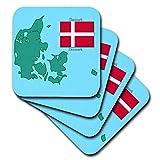 777images Flaggen und Karten–Die Karte und Flagge von Dänemark mit Dänemark in Englisch und Dänisch. Gedruckt–Untersetzer, Gummi, set-of-8-Soft