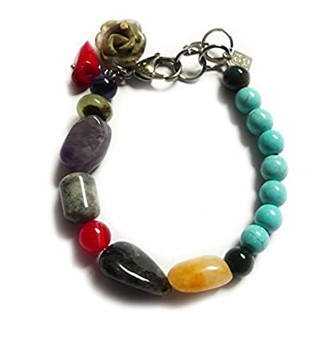 Bracelet: Turquoise, yellow Jade, Smoky Quartz,Amethyst, Amazonite, Sodalite, Jasper Black Agate, Coral,