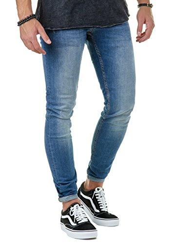 EightyFive Premium Denim Herren Jeans Hose Destroyed Jeans Stone Washed Slim Fit Basic Blau EFJ145, Farbe:Blau, Hosengröße:W30 L32