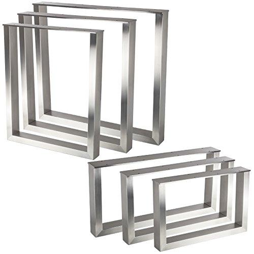 Tischgestell KUFE ECHT Edelstahl / Profil 80 x 40 mm / Höhe: 720 mm / Tiefe: 800 mm höhenverstellbares Tischbein Tischunterbau von SO-TECH