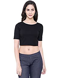 COA Womens Organic Cotton FINE & Dandy Solid Black Crop Top for Women Style with Round Neck
