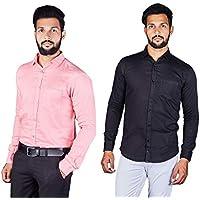 Indian Threads Men's Regular Fit Long Sleeve Satin Formal Shirt
