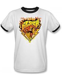 Das Flash Heiße Sohlen Adult Ringer Kurzarm T-Shirt in Weiß / Schwarz von DC Comics