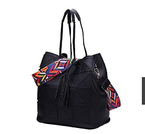 WTUS Damen Neue Zweiteilige Mode-Handtaschen Handtasche Schultertasche Frau Messenger Wannenbeutel PU Beuteltote Schwarz