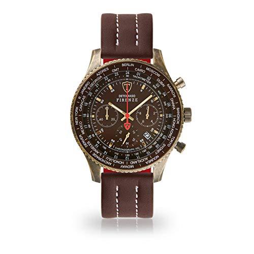 DETOMASO Firenze XXL Herren-Armbanduhr Chronograph Analog Quarz Antique Brass farbenes Edelstahlgehäuse braunes Zifferblatt (Leder - Braun (Naht: Weiß))