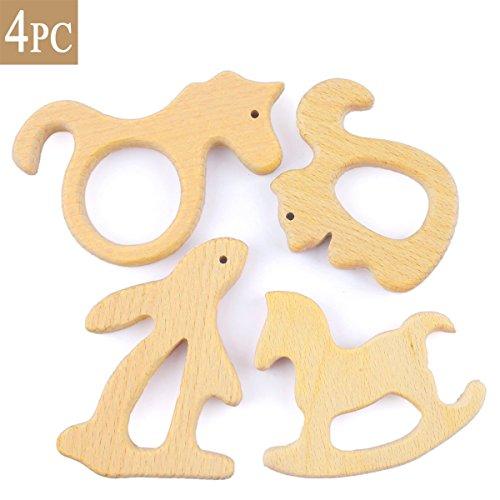 Best for baby 4PC Baby Hölzernes Zahnen Duschengeschenk Holz Eichhörnchen Känguru Trojanisches Pferd Gitarre Spielzeug Organisch Handgefertigt Anhänger