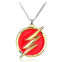Inveroo Moda DC Comics El Flash Oro Rayo Collar Par Collier Rojo Oro Logotipo Regalo De Collar para Accesorios De Souvenir