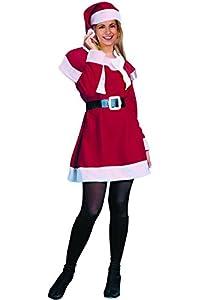 Ciao 25010-Navidad Papá Noel con saco de yute, rojo/blanco, talla única Mujer (talla única) Unica rojo/blanco