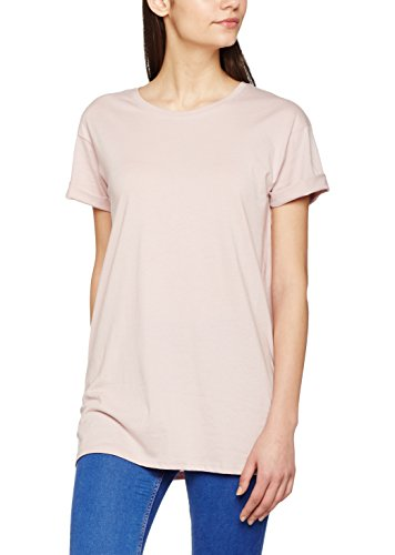 New Look Damen T-Shirt Roll Sleeve Boyfriend, Pink (Light Pink), Gr. 34 (Herstellergröße: 6) (Sleeve Shirt Roll)