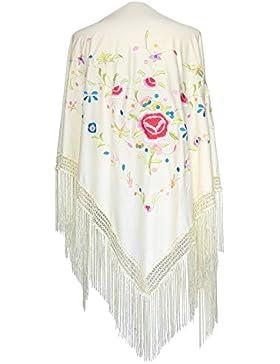La Señorita Mantones bordados Flamenco Manton de Manila Grande blanco flores de colores Grande