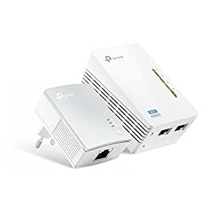 TP-Link TL-WPA4220 Kit Powerline WiFi, AV600 Mbps su Powerline, 300 Mbps su WiFi 2.4GHz, 2 Porte Ethernet, Plug and Play, WiFi Clone, Cavo Ethernet da 2m RJ45, senza Presa Passante