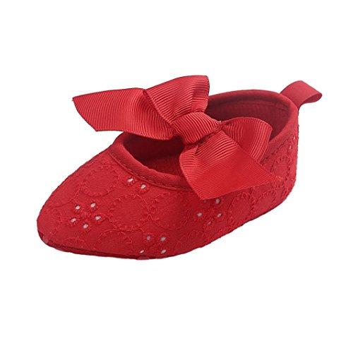 Jamicy® Baby Mädchen Schuhe niedlich Bowknot weiche Sohle Princess Soft Wohnungen Rot