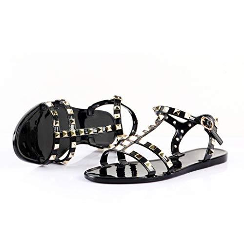 Frauen-Gladiator-T-Bügel-Gelee-Flache Sandelholze-Nieten besetzte geöffnete Zehe-Wölbungs-Bügel-rutschfeste Sommer-beiläufige Schuhe Vince Wrap
