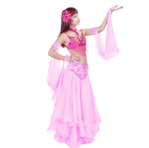 YuanDian Damen Bauchtanz Performance Doppel Ring Ärmel Flash Pailletten Armbänder Zubehör Tribal Oriental Arabian Belly Dance Ärmel (Keine Röcke Und BHs) Rosa - Oriental Kostüm