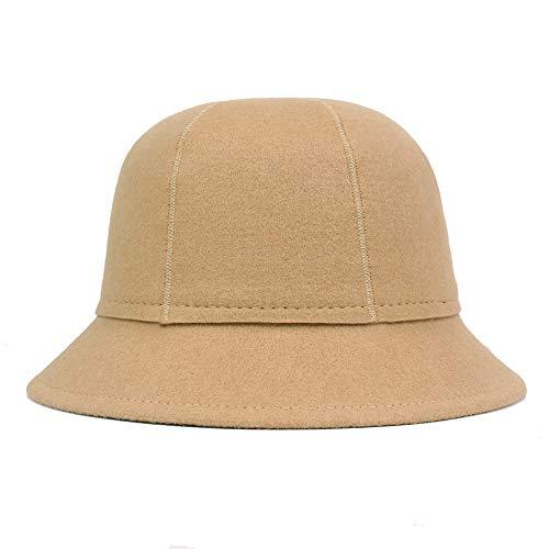 SKKMALL Schurwollmütze Damen Herbst- und Wintermütze Wollmütze Wollfilzmütze (Color : Camel, Size : Adjustable) (Filz Schwarzen Derbyhut)