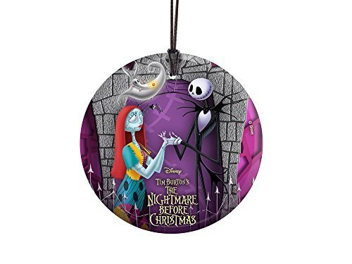 istmas (Jack and Sally with Zero) StarFire Prints Hanging Glass Print SPCIR113 by StarFire Prints (Jack, Sally Und Zero)