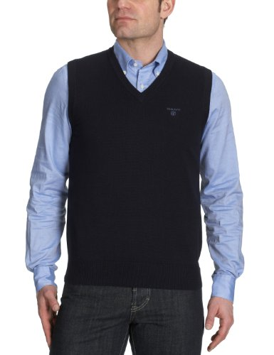 Gant - Maglietta con collo a V, uomo, Blu (Blau  (NAVY)), L