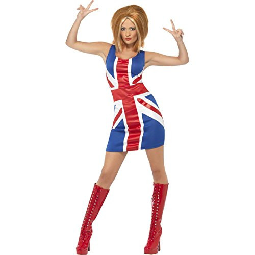 (Spice Girls Dress Union Jack Kostüm blau rot weiß M 40/42 Union Jack Outfit 90er Jahre Kostüm Dreamgirlz Kleid Damenkostüm Damen)