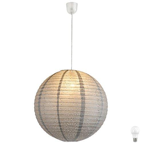 Pendel Papier Lampe Kugel Schlafzimmer Hänge Leuchte Muster Dekor grau im Set inkl. LED Leuchtmittel