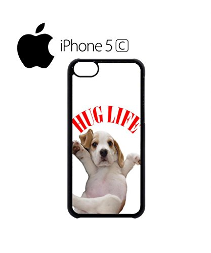 Hug Pug Life Cute Dog Doggie Mobile Cell Phone Case Cover iPhone 5c Black Weiß
