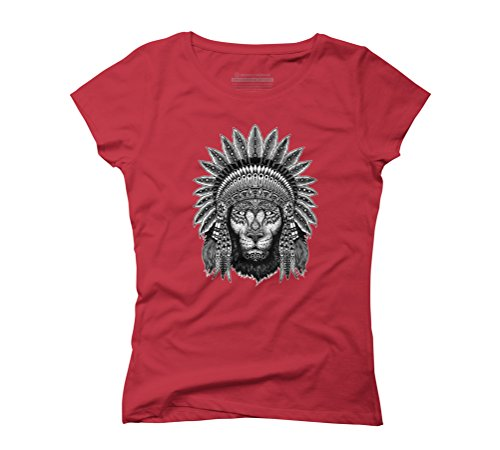 Native Lion Women's Graphic T-Shirt - Design By Humans Red